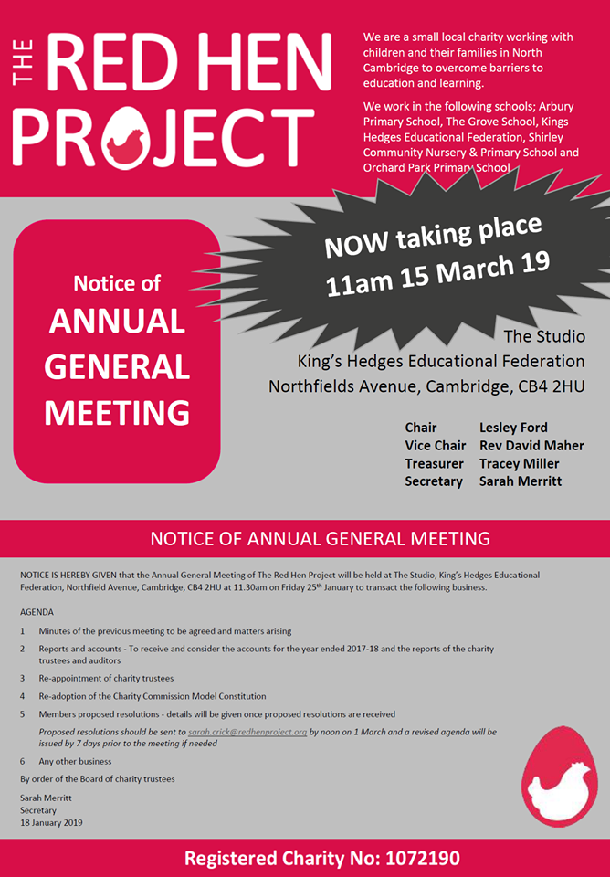 AGM has been rescheduled for Friday 15 March 2019